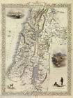 1800'S MAP MODERN PALESTINE NAZARETH JAFFA ARAB BIRD EYE VIEW POSTER REPRO