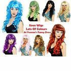 Smiffys Siren Long Curly Wig With Fringe Ladies Fancy Dress Wig