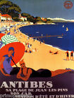 ANTIBES COTE D'AZUR FRANCE BEACH MEDITERRANEAN SEA TRAVEL VINTAGE POSTER REPRO