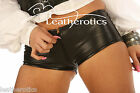 OPEN FRONT ZIP LEATHER SEXY TIGHT FIT SHORTS Knickers