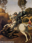 SAINT GEORGE AND THE DRAGON WHITE HORSE PRINCESS PAINTING BY RAPHAEL REPRO