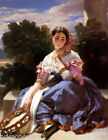 GIRL WITH A TAMBOURINE PAINTING BY WINTERHALTER REPRO
