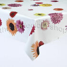 FUNKY FLOWERS ON WHITE VINYL WIPE CLEAN TABLECLOTH
