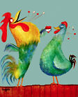 1595 Rooster and hen in love Vintage POSTER. Animal anima...