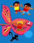 1787 Animated Big pink fish and children quality POSTER. Fun Decorative Art.