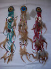 """DREAMCATCHER STYLE HAIR GRIPS -FEATHER & BEADS - 15"""" LENGTH - BLUE, BEIGE or RED"""