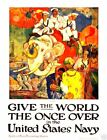 "Give The World the Once Over - 20""x32"" Military Recruiting Poster Canvas"