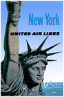 3016.United air Line POSTER.Statue of Liberty.New York.Blue Home interior design