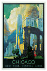 "Chicago-New York Central Lines-c.1929 - 24""x36""  Vintage Travel Poster on Canvas"