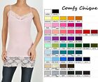 LONG LACE CAMISOLE CAMI TUNIC TANK TOP S M L XL *all colors*  adjust straps