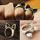 Hot Korean Retro Vintage Cute Silver Bronze Cat Ears Ring