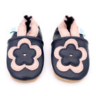 NEW  SOFT LEATHER BABY SHOES 0-6,6-12,12-18,18-24mths NAVY FLOWER