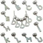 Crystal AB Rhinestone 24 Alphabet Letter Dangle Pendant Beads Charm Fit Bracelet