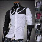 JS Mens Designer Dress Casual Shirt Top Black White Gray Slim S M L XL J8312