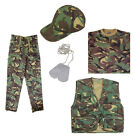 Kids Boys Army Soldier Trousers, T-Shirt, Action Vest, Baseball Cap & Dog Tags