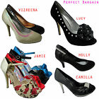 New Ladies Kitten Low High Heel Ankle Strap Court Shoes Platforms All Styles Siz