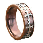 8mm Coffee Gold EP Titanium Silver EP Celtic Scroll Inlay Men's Wedding Ring
