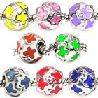 Wholesale Lot 8pcs Silver Butterfly European Spacer Charm Beads For Bracelet
