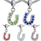 Wholesale Lot 5pcs Silver Crystal CZ Horseshoe European Charm Beads For Bracelet