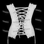 Sexy White lace up Wedding Corset Bustier G-String Garter TOP