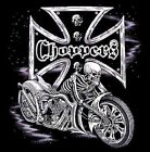 CHOPPER SKULL IRON CROSS BIKER RIDER CHEST LOGO T SHIRT BLACK OR GRAY M TO 6XL