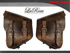 La Rosa Harley Chopper Bobber Rigid Left & Right Saddlebag Rustic Brown Leather