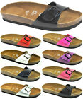 GIRLS WOMENS MOJO FOOTBED SUEDE INSOLE SUMMER SLIP MULE SANDALS SHOES SIZES 3-8