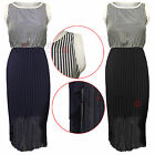 WOMENS LADIES STRIPED PLEATED CHIFFON TAIL BACK DRESS CUT OUT DRESSES SKIRT TOPS