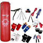 TurnerMAX Boxing Punch Bag Set Kick Bag Punchbag Mitts MMA Gear Wall Bracket