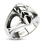 316L Stainless Steel Owl Eyes Layered Leaf Ring Band Size 9,10,11,12,13 (f215)