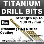 5 x HSS FULLY GROUND TITANIUM NITRIDE COATING (+500%) DRILLS DRILL BITS  GENUINE