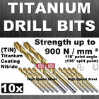 10x HSS FULLY GROUND TITANIUM NITRIDE COATING (+500%) DRILLS DRILL BITS ( TiN )