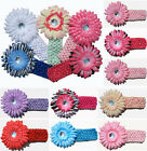 New Wholesale Baby Girl  Cute Crochet Headband Acrylic Daisy Flower