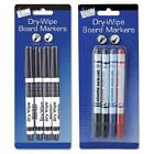 4 Dry Wipe White Board Marker Pens Black Blue Red Tip