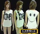 WOMENS NEW LADIES BE SMILE PRINT LOGO VEST TOP TEE T-SHIRT SIZE 8 10 12 14