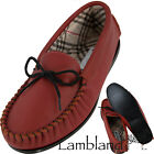 Ladies Genuine Leather Red Moccasins Sizes 3 to 8, BRITISH MADE