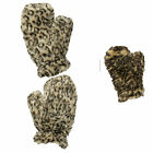 G10 LADIES LEOPARD ANIMAL DESIGN FAKE FAUX FUR MITTEN SNOW WARM WINTER GLOVE NEW