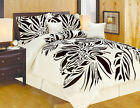 Queen King and or Curtain Modern Style Beige Black Comforter Set image