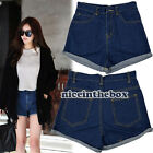 Women Retro Lady's Girls Denim High Waist Flange Blue Jean Shorts Hot Pants N98B