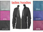 Ladies Womens Plain Apparel Zip Up Hoodie Hooded Top Adults Jacket Coat