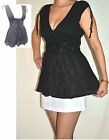 Ladies black top grecian v-neck smock broderie anglaise size 8 to 12