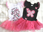 NEW Girls Dress with Tutu skirt sz 1-7yr Black/HotPink and White/Pink