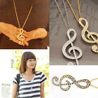 NEW 1pc Fashion Musical Note Rhinestone Crystal Charm Pendant Chain Necklace