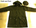 NEW Oilskin Wax Cotton Olive Green Padded Jacket with Matching Wax Flat Cap
