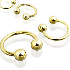 Gold Plated over 316L Surgical Steel Circular Barbell with Balls
