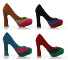 LADIES THREE TONE THICK HEELED VELOUR SHOES BLUE BLACK CAMEL RED SIZE 3 4 5 6:10