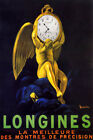 LONGINES SWISS WATCH BEST OF PRECISION TIME ANGEL CAPPIELLO VINTAGE POSTER REPRO