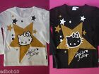 Girls HELLO KITTY glitter star long sleeve top black or white Sizes 4 & 6 years