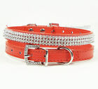 Bling Rhinestone PU Leather Crystal Diamond Cat Puppy Collar Pet Dog Cat Collars