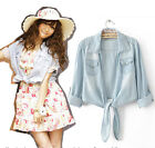 Retro Womens Distressed Denim Knotted Cowgirls Tops Shirt Waistcoat Jacket T882#